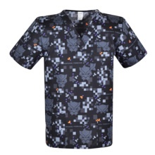 Print Men scrub uniforms,print men scrub top,men scrub tops   scrub uniform for male in 100% cotton
