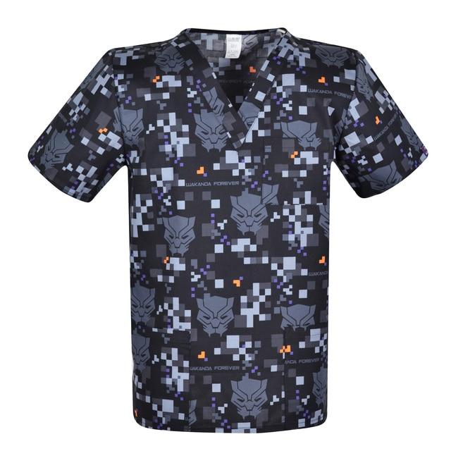 Print Men scrub uniforms,print men scrub top,men scrub tops   scrub uniform for male in 100% cotton