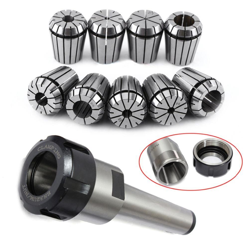 M2 MT3 MT4 M10 M12 M16 Morse Taper Holder +9pcs ER32 Spring Collets Set 2/4/6/8/10/12/16/18/20mm For CNC Milling Lathe Tool