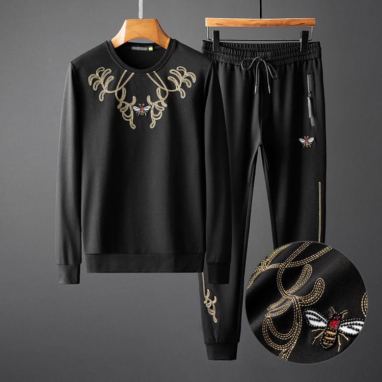 2019 Autumn Men Hoodies Suit Casual Clothes Bee Embroidery Beading Slim Tracksuits Sweatshirts Mens Track Suits Ropa Para Hombre