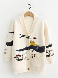 Cardigan Sweater Knitted Jacket Joker Oversize Long-Sleeve Print Autumn Winter Women's
