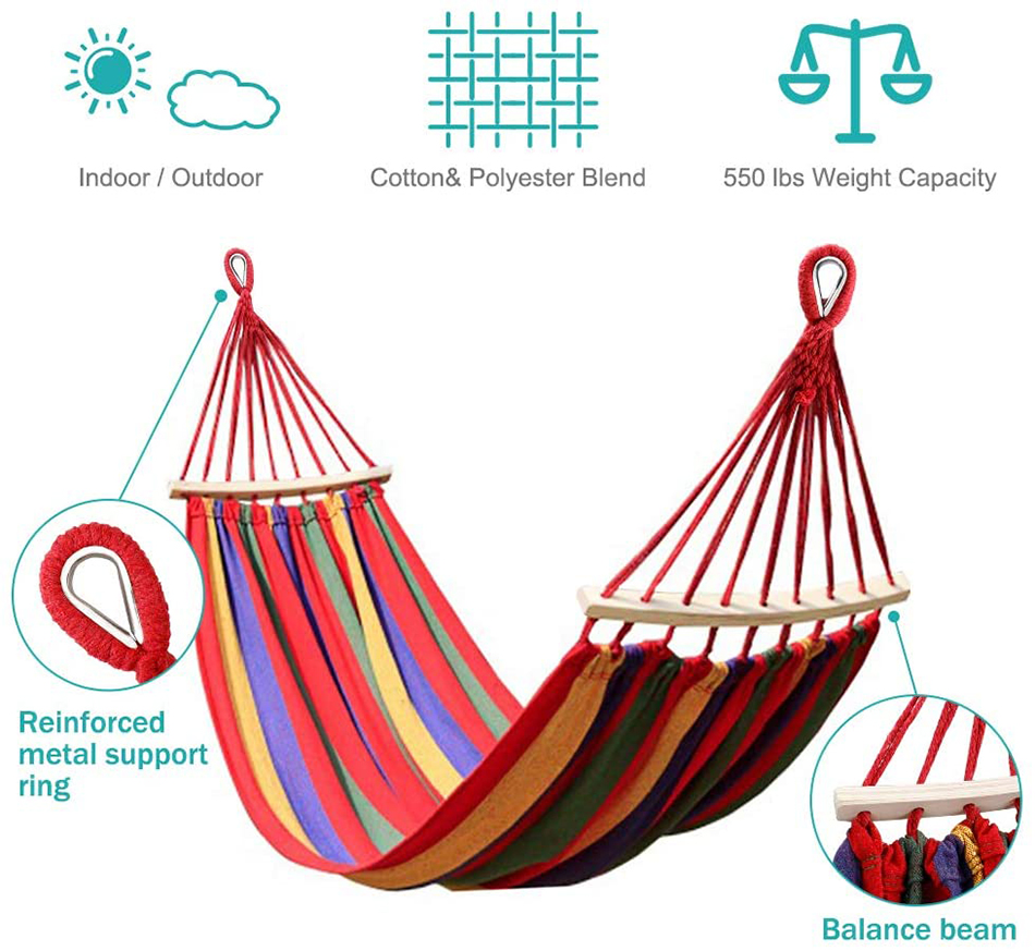MOSFiATA-Camping-Hammock-with-Thickened-320G-Durable-Canvas-Fabric-Sturdy-Metal-Knot-Tree-Straps-Hanging-Chair-Garden-Furniture-10