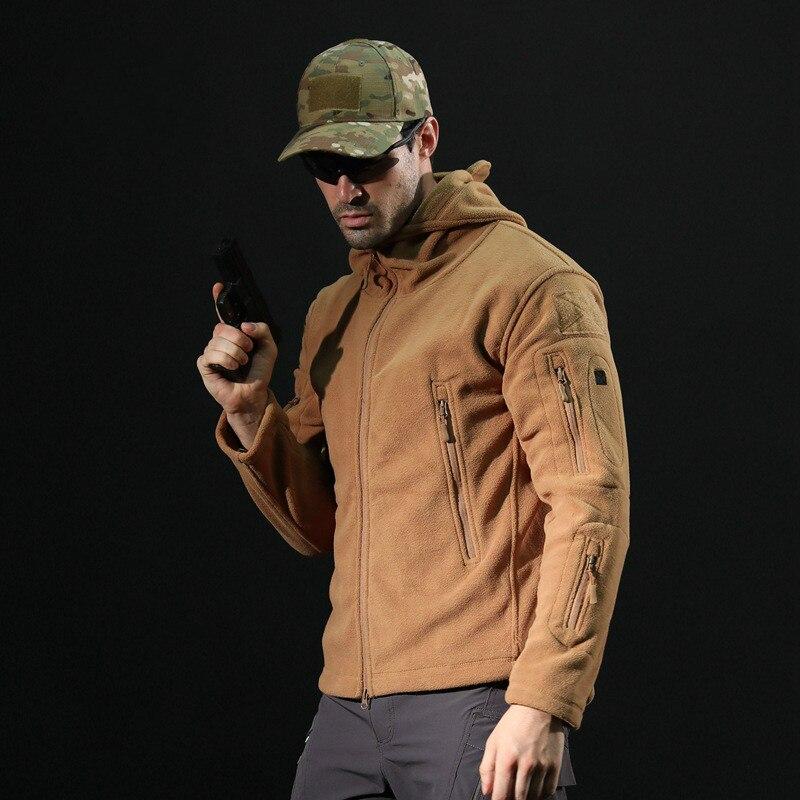 Outdoor Tactical Fleece Jacket Men Thick Soft Shell Jacket Long Sleeve Fluffy Khali Military Coat Plus Size Xxxl 4xl Sportswear