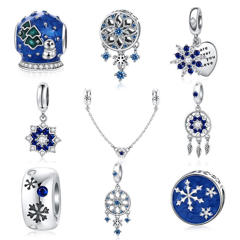 DALARAN Christmas 925 Sterling Silver Charm Snowflake Blue Bead Fit Silver 925 Original Pandora Bracelet Charm Jewelry Making
