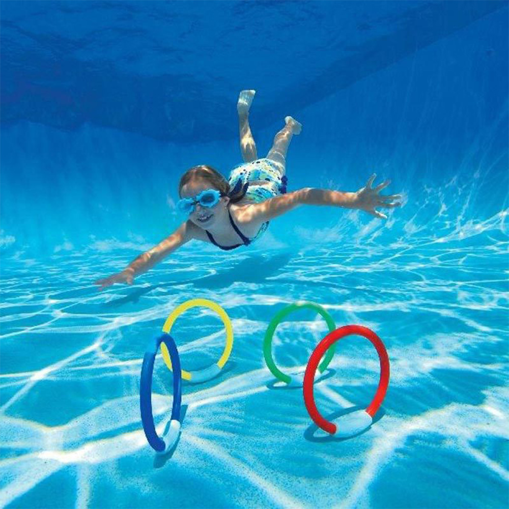 Kids Diving Rings Set Pool Diving Toys Colorful Underwater Swimming Sinking Rings Pool Rings For Children Toy Adults Pool Toys