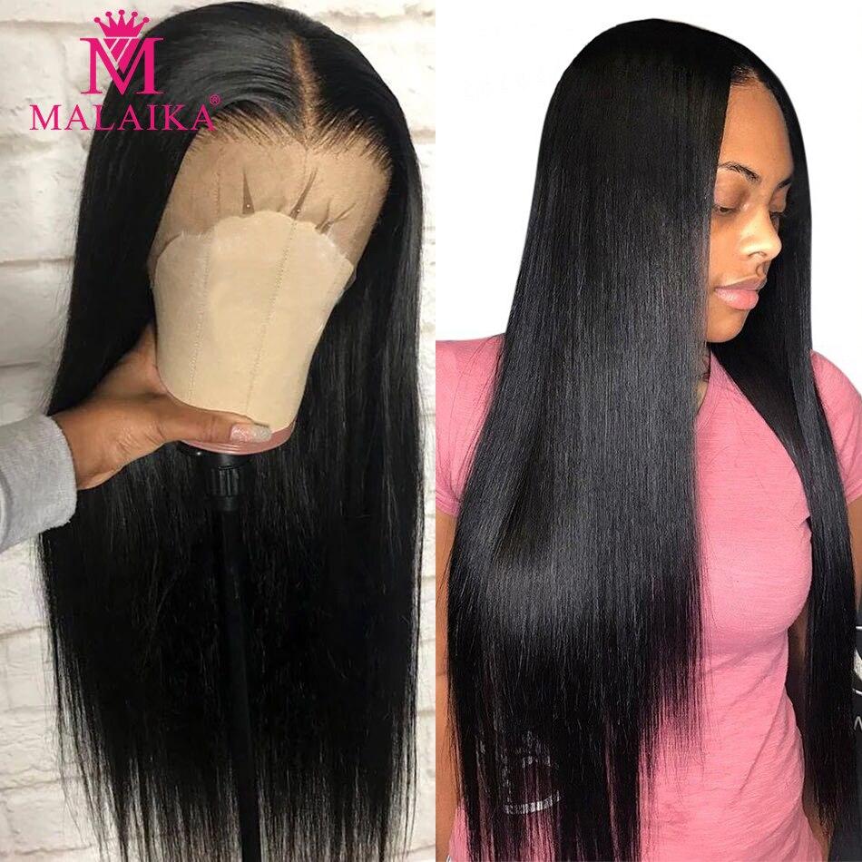 Парики Malaika прямые из человеческих волос 13x4 на сетке спереди, бразильские натуральные волосы без повреждений для черных женщин, 360 фронтальн...
