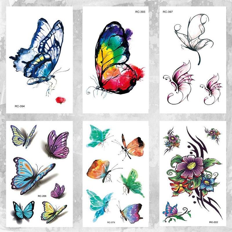 10x6 см 3D бабочки для женщин Водонепроницаемый татуировки, боди-арт, Временные татуировки, наклейки для моделирования для макияжа