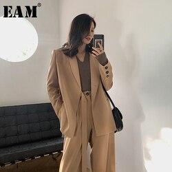 [EAM] Wide Leg Pants Big Size Two Piece Suit New Lapel Long Sleeve Black Loose Fit Women Fashion Tide Spring Summer 2020 1W488