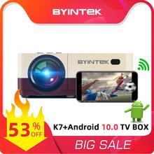 BYINTEK K7 Mini 1080P Wifi LED przenośny projektor wideo ((opcjonalnie Android 10 TV pudełko) do smartfona 3D 4K kina domowego tanie tanio Instrukcja Korekta CN (pochodzenie) Projektor cyfrowy 4 3 16 9 System multimedialny 800x480 dpi Brak 200 ANSI Lumens 40-150 inch