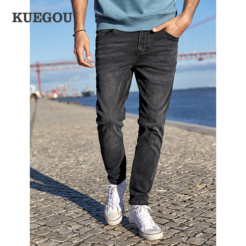 KUEGOU Brand Men  Wash The Old Vintage Black Jeans Winter Fashion Cultivate One's Morality Micro Elastic  KK-2975