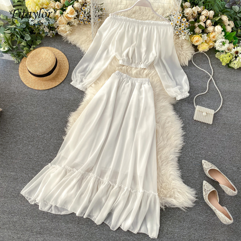 Fitaylor Beach Style Two Piece Set Women Summer Ropa Mujer Sexy Off Shoulder Short Tops+ Long Skirts Sweet 2 Piece Set