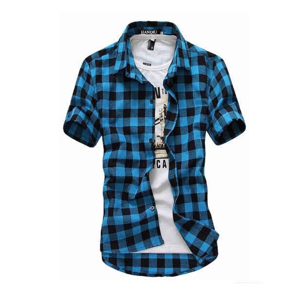 Camisa a cuadros roja y negra para hombre, camisa a cuadros para hombre, camisa de manga corta para hombre, camisa a cuadros, nueva moda de verano 2019
