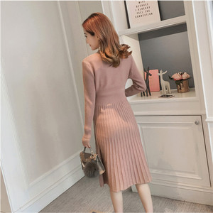 Image 2 - Autumn winter maternity sweater dress elastic slimming knitted pregnancy clothes pregnant dresses for women winter warm long