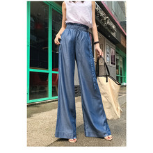 JUJULAND Summer Casual Solid Pants For Women High Waist Pocket Big Large Size Long Wide Leg Fashion Clothing New 918
