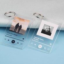 Personalisierte Musik Plaque Keychain Foto Album Song Poster Schlüsselring Kunst Player Display Sound Track Schlüssel Kette