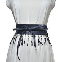 Платье с кружевным поясом Новый черный белый цвет tassel pendant