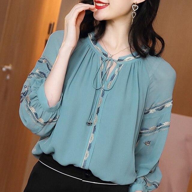 Women Spring Autumn Style Chiffon Blouses Shirts Lady Casual Long Sleeve O-Neck Loose Chiffon Blusas Tops DD8852 5
