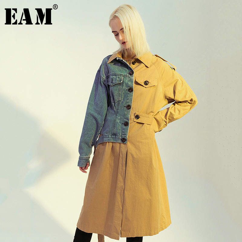 [EAM] Women Denim Splt Joint Temperament Trench New Lapel Long Sleeve Loose Fit Windbreaker Fashion Spring Autumn 2020 1D637