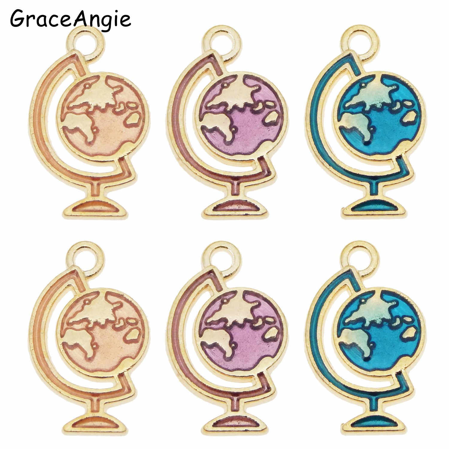 12pcs/lot  Enamel Globe Universe Planet Jewelry Accessories Charm Pendant Alloy Enamel  Star Charm Pendant DIY Earrings Necklace