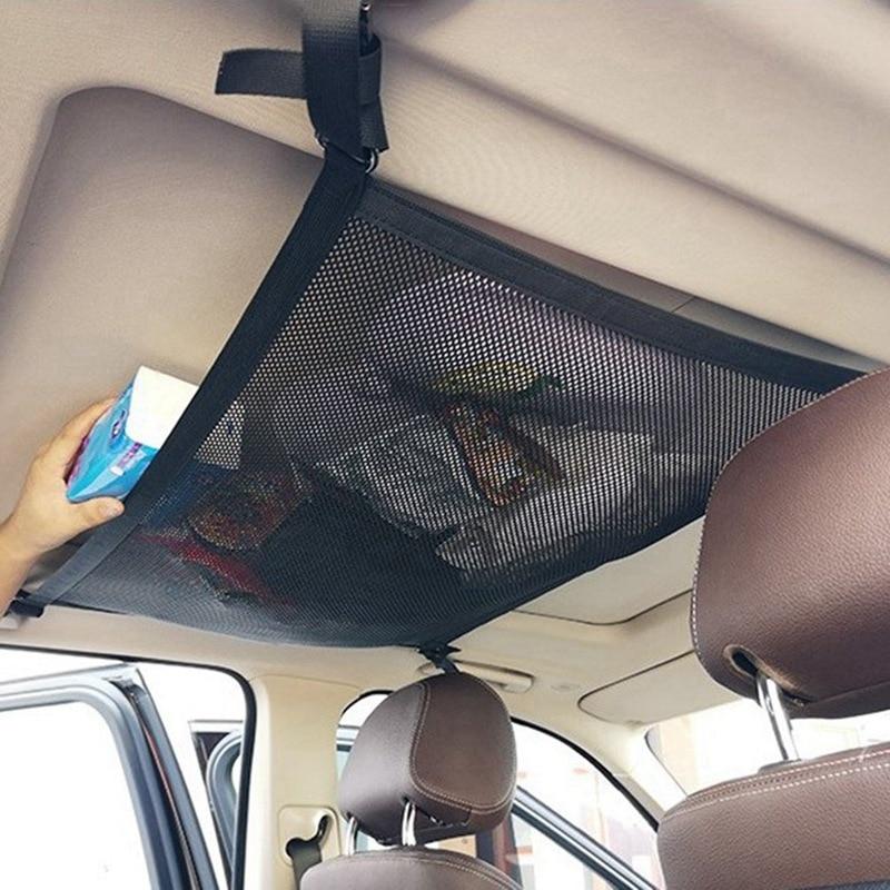 Car Ceiling Storage Net Pocket Universal Hanging Multi-Functional Mesh Net Storage Bag Car Trunk Organizer