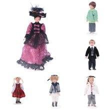 1:12 миниатюрная фарфоровая кукла для кукольного домика, костюм для маленькой красивой девочки, костюм для мальчика и леди, викторианское кра...