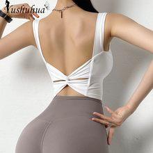 Sexy Grande Sem Encosto Top Esportes Para As Mulheres de Fitness Gym Yoga Top Colheita gola U Push Up Underwear Activewear Run Tanque top Colete Esporte