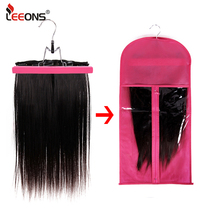Leeons Custom Logo Wig Storage Bags With Hanger Black Red Storage Display Hair Extensions Tools Wigs Non-Woven 7Colors Available