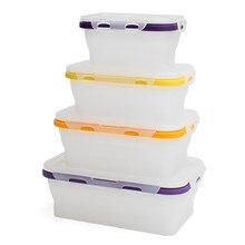 4 шт. складной силиконовый Ланч-бокс контейнер для хранения еды Bento BPA бесплатно Microwavable Портативный Пикник Кемпинг Открытый ланч бокс