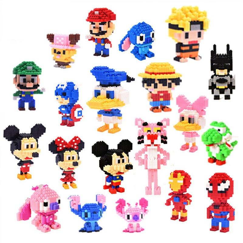 DIY Mini Assembly Model Building Blocks Anime POKEMON Figure Spider-Man Batman Iron Man For Kids Christmas Birthday Gifts
