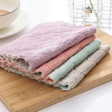 Kitchen Cleaning Solid Double-Sided Strong Absorbent Cloth Lint Oil-Free Dish Towel Wet Cloth coral velvet bathroom supplies soft hand towel absorbent cloth dishcloths hanging lint free cloth kitchen accessories