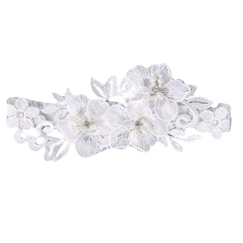 Wedding Bridal Sexy Leg Garter Embroidery Floral Lace Rhinestone Bead Thigh Ring 875B