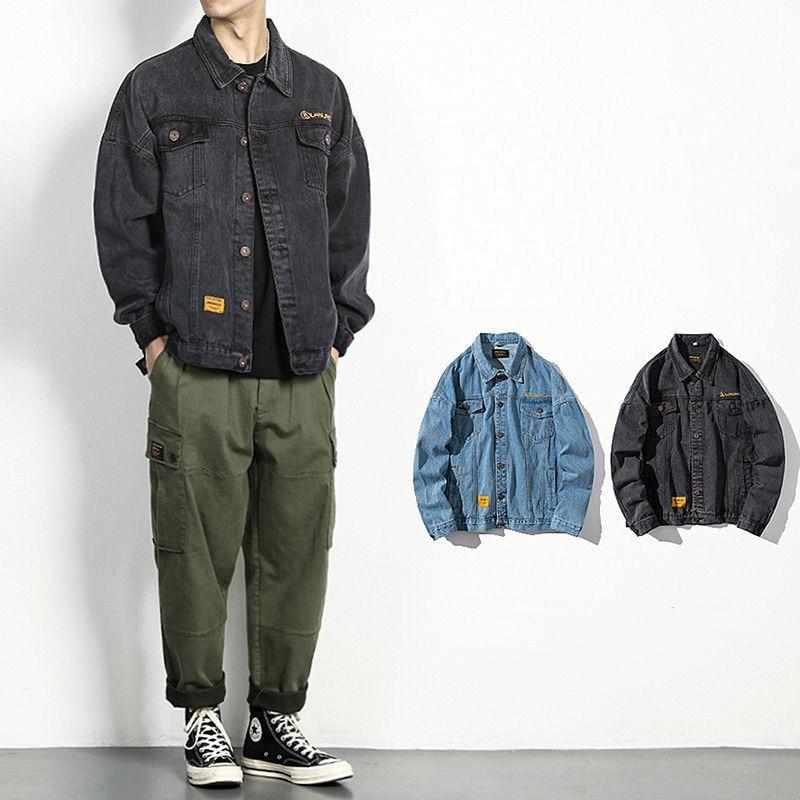Streetwear Denim Jacket Men's Black Loose Casual Jeans Coat Clothes Spring Autumn Blouson Techwear