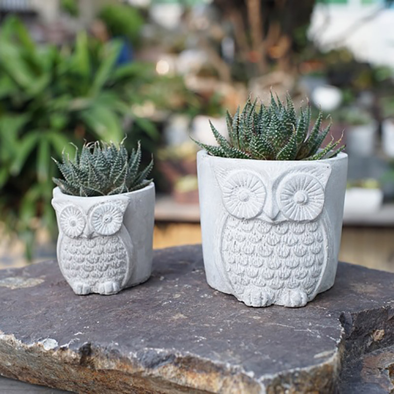 Nicole Silicone Concrete Mold Owls Shape Flowerpot Cement Mould