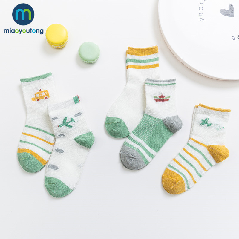 5 Pairs/lot Boat Lion Comfortable Mesh Thin Breathable Cotton Spring Summer Kids Socks Boys Baby Boy Socks Skarpetki Miaoyoutong