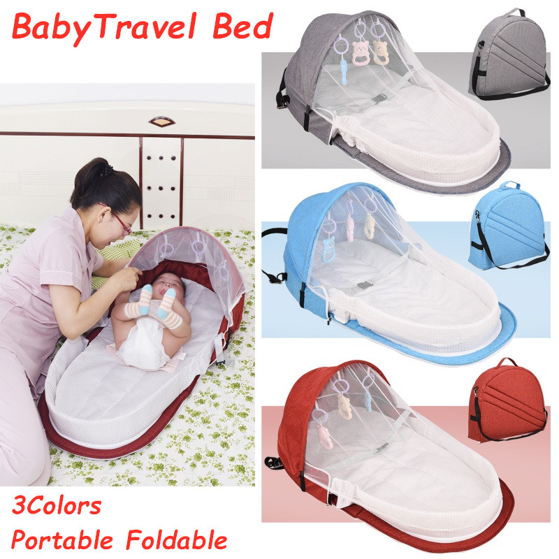 5Pcs Portable Foldable Travel Baby Bed Outdoor Safety Crib Diaper Change Bed For Travelling Mosquito Breathable 3 Colors  Toys