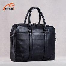 Véritable cuir décontracté hommes sac à main homme mallette affaires épaule grande capacité Crossbody 15.6 pouces Laotop bureau sacs NUPUGOO