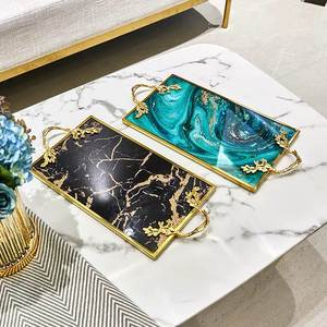 Storage-Plate Serving-Tray Marble Gold-Inlay Home-Decoration Kitchen Luxury Drinkware