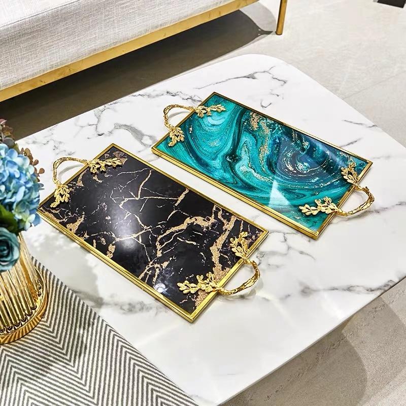 Plateau de service décoration de la maison | Décoration de luxe avec incrustation en or assiette de rangement de cuisine rectangulaire, plateau de service en verres