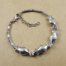 Ethnic Bracelets For Women Tribal Tibet Silver Color Multiple Fish and Flower Charm Bracelet Jewelry