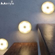 Duża moc 700mah akumulator PIR lampa z czujnikiem ruchu 3 5 10 sztuka szafka szafa sypialnia lampka nocna do szafka kuchenna schody tanie tanio MERRYLE Night Light Round CN (pochodzenie) ROHS YX-6led USB Night Light Lampki nocne Litowo-metalowa Żarówki LED PRZEŁĄCZNIK