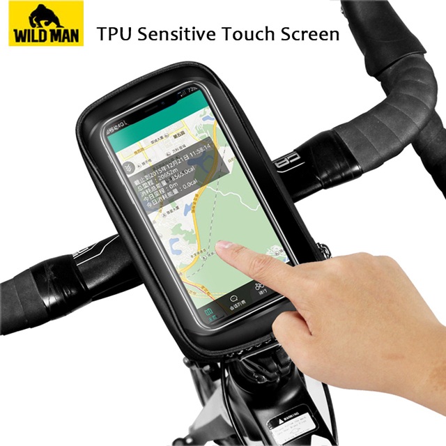 Wild man road bicycle bag rainproof 5.8/6.0 inch phone case touch screen mtb bag top front tube bag cycling bike accessories