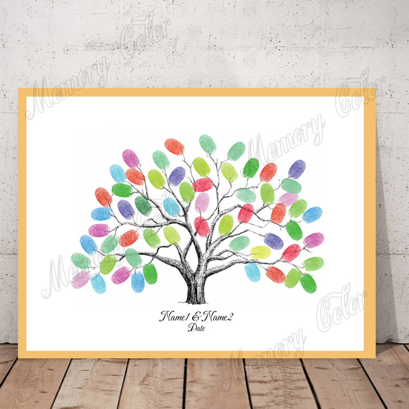 Personalised Baby Shower Fingerprint Tree Guest Book Game Decoration