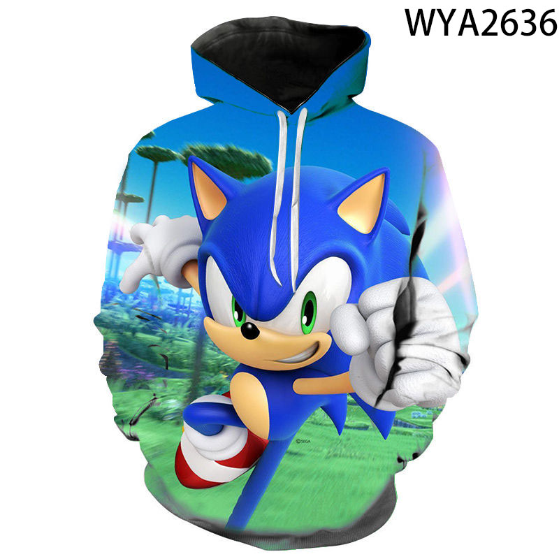 New Arrival Anime Sonic the Hedgehog 3D Printed Hooded Sweatshirts Men Women Children Fashion Casual Pullover Kids Hoodies