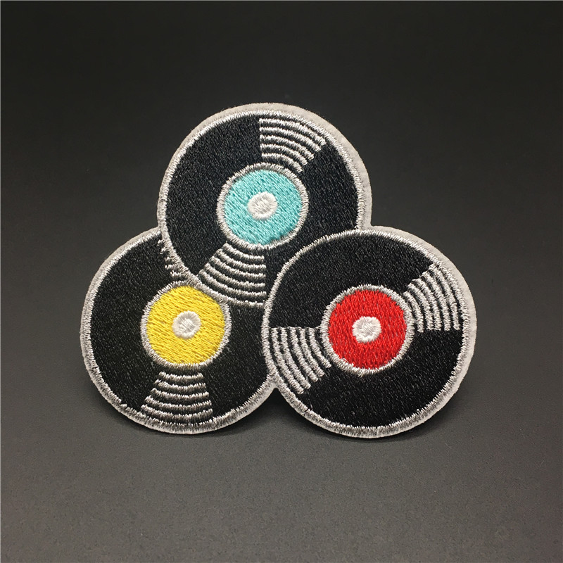 Mode Rekord Musik Größe: 7,5x6,4 cm Eisen Auf Patch Bestickt Applique für Jacke Abzeichen Kleidung Nähen Stoff Aufkleber