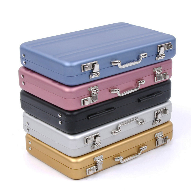 New Aluminum Storage Box Business ID Credit Card Holder Mini Suitcase Bank Card Box Holder Jewelry Case Organizer Rectangle