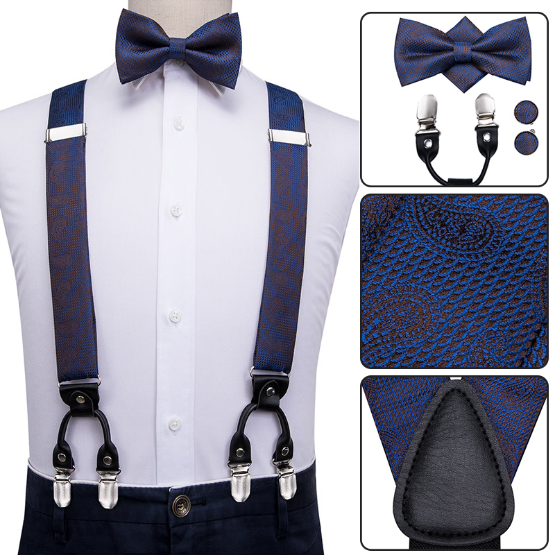 BD-3034 Hi-Tie Silk Adult Men's Suspenders Bow Tie Set Leather Metal 6 Clips Braces Fashion Blue Paisley Elastic Suspenders Men