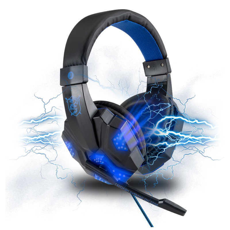 Komputer Berkualitas Tinggi Kabel Headset Gaming untuk PS4 Xbox PC Ponsel Gamer Lampu LED Over-Ear Stereo Headphone dengan mikrofon