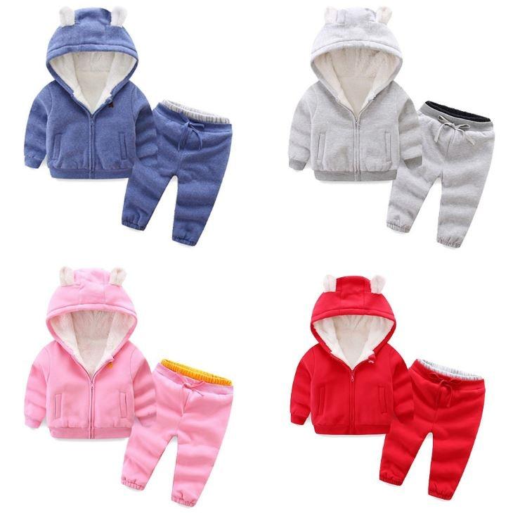 outono inverno do bebe meninas meninos roupas definir quente mais veludo hoodies calcas 2 pcs roupas