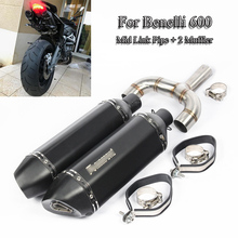 For Benelli 600 Exhaust Whole Set Pipe Moto Muffler Silencer Connect Mid Link Under Seat Slip On for
