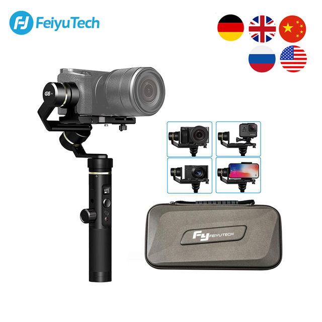 Used Open box FeiyuTech Feiyu G6 Plus 3 Axis Handheld Gimbal stabilizer for GoPro Mirrorless Camera Smartphone